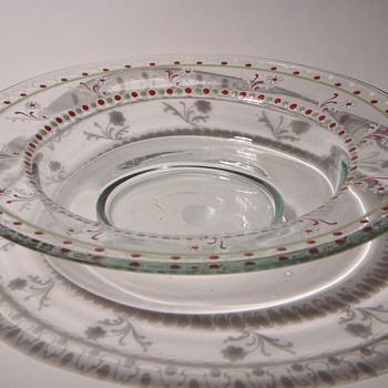 Large Bohemian Enamelled Glass Bowl~ - Art Glass
