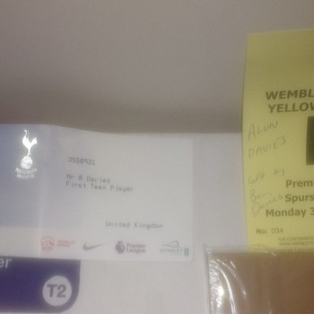 Ben Davies Tottenham Hotspur Football player Car Park Permit and player ticket - Football