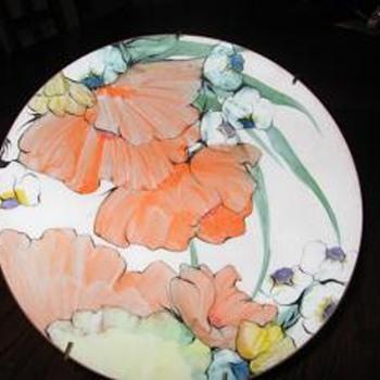 Bachrach enamel Art Plate - Art Glass