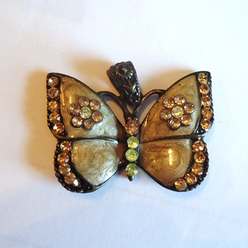 Brass Butterfly, enameled? With jewels!  Old!?  Maybe from Gospel Thrift Store  Cute! - Costume Jewelry