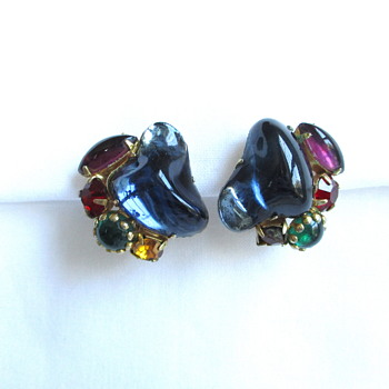 Mystery Large Poured Glass Vintage Earrings - Costume Jewelry