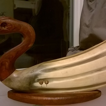 Blind Carved Horn & Wood Duck, Antique/Brocante Market Find $3.00 - Animals