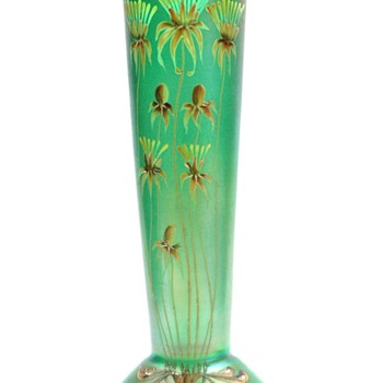 tall iridescent & enamel vase von poschinger by Betty Hedrich - Art Nouveau