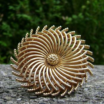 Vintage Trifari Pinwheel Brooch - Costume Jewelry