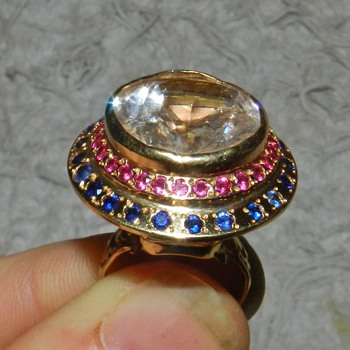 Crazy 14k Gold Ruby Sapphire Spinel Ring HUGE! - Fine Jewelry