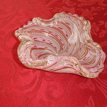 Italian Latticino Glass ashtray - Art Glass