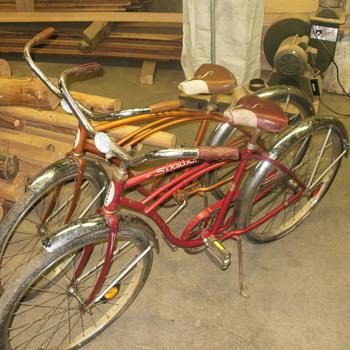 pair of typhoon vintage shwinn bikes