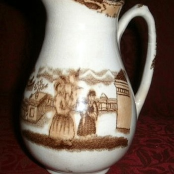 "Antique brown and white transferwear creamer 6"" - China and Dinnerware"