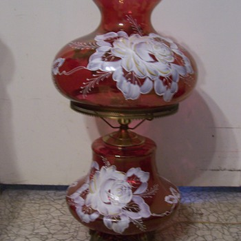 Double Globe lamp with rose glass and painted flowers - Lamps