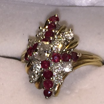 14KT Yellow Gold Diamond and Ruby Ring - Fine Jewelry