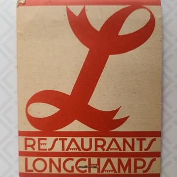 "Longchamps Restaurant Matches ""May 21, 1937"" - Art Deco"