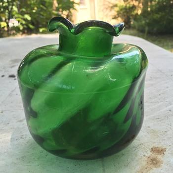 Small Three Piece Mold Blown Green Glass Vase