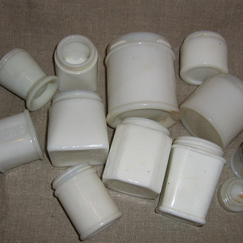 White milk glass cold creme & other beauty potion jars