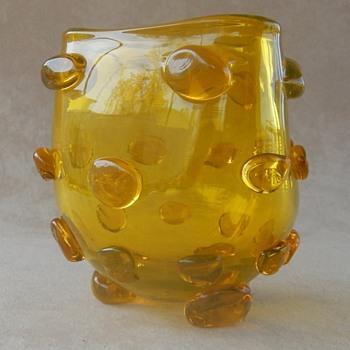 Blenko Lemon Yellow Triangular Applied Blob Vase by Wayne Husted