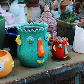 Some of my funky pots at the nursery. - Pottery