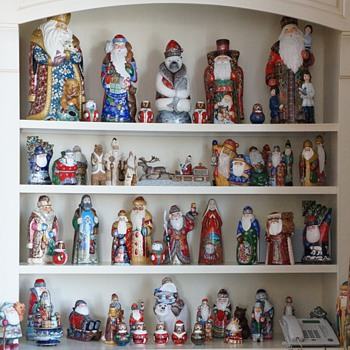 Carved Wooden Russian Santas! - Christmas