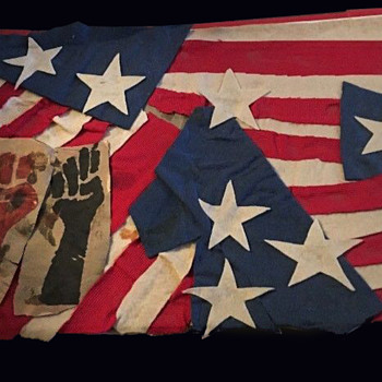 Unique Original 1960s Protest Demonstration Used Stars & Stripes Sign - Politics