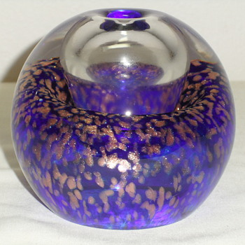Murano Oil Lamp ~ Cobalt Blue & Gold Aventurine - Art Glass