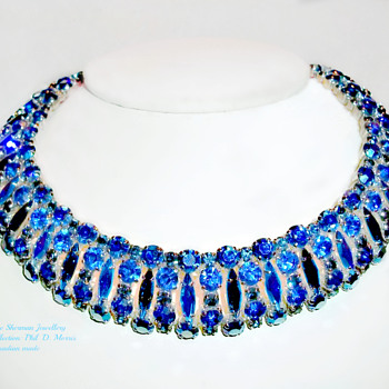 Very Rare Sherman Signed SaphireDark Blue and Peacock Med Blue Rhinestone Choker Necklace. - Costume Jewelry