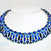 Very Rare Sherman Signed SaphireDark Blue and Peacock Med Blue Rhinestone Choker Necklace.