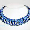 Very Rare Sherman Signed SaphireDark Blue and Peacock Med Blue & Montana Blue Rhinestone Choker Necklace.