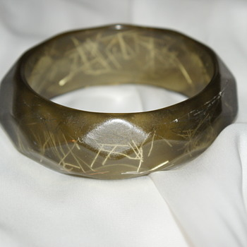 Vintage 1960's Lucite Confetti Bangle - Costume Jewelry