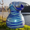 KRALIK COBALT BLUE TRAILING'S WITH BLUE INTERIOR URANIUM GLASS VASE