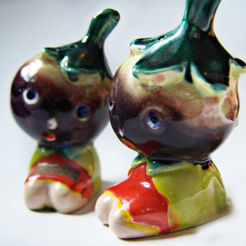 Vintage Anthropomorphic Salt and Pepper Shakers Adorable Eggplant Head Children - Kitchen