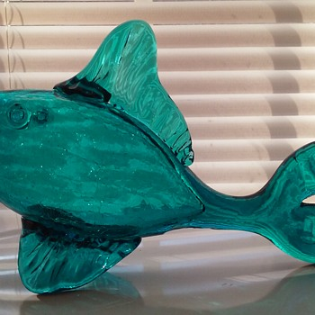 Blenko crackle glass fish - Art Glass