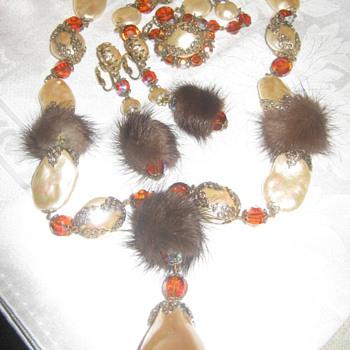 Hobe Demi Parure with Mink - Costume Jewelry