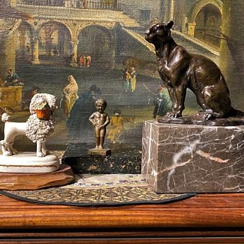 Bronze Puma and Bronze Peeing Boy - Art Deco