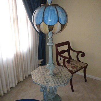 Unusual Floor Lamp with Slag Glass Shade. - Furniture