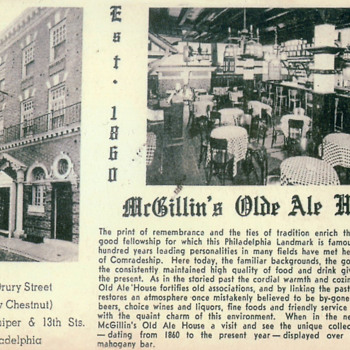 McGillin's Ale House, Philadelphia Postcards - Advertising