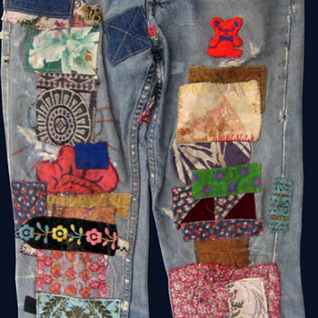#11 ~ Radio Ray Wells' San Francisco Hippie Commune Patched Jeans - Mens Clothing