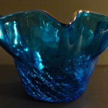 Rainbow Art Glass Company ruffled half crackle glass bowl - Art Glass