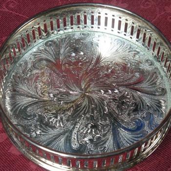silver coaster holder. - Silver