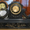 Large French Slate Tambour Mantel Clock