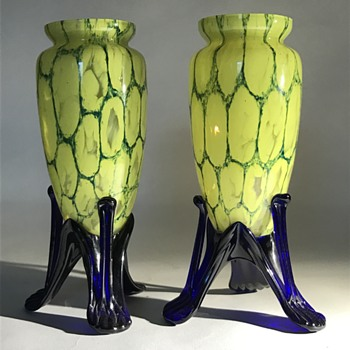 Pair of Kralik tri-footed yellow 'honeycomb' vases - Art Glass