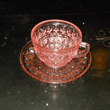 Holiday Pattern by Jeanette Post Depression Cup and Saucer - Glassware