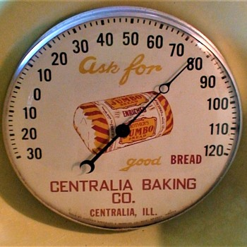 """Mother's Jumbo Bread"" Advertising Thermometer 1950s Centralia Baking Company - Advertising"
