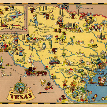 Ruth Taylor Texas State map 1935 comic cartograph - Paper
