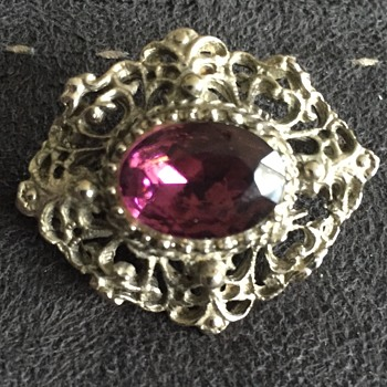 Silver and purple brooch - Costume Jewelry