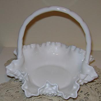 Fenton Milk Glass Basket - Glassware