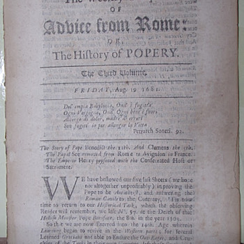 1681 (Yes, you read that right) Magazine Against the Pope (Radical Tabloid)