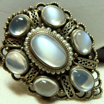 Antique Moonstone and Seed Pearl Dress Clip - Fine Jewelry