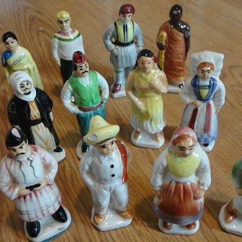 "Vintage Ceramic Figurines - Japan people from around world 4"" high 1 1/2 inch w"" - Figurines"