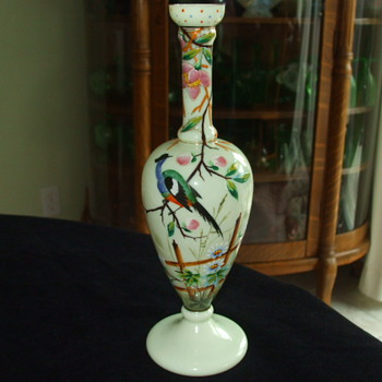 Slender Unusual-Shaped HARRACH Bird Of Paradise CUSTARD VASE - Art Glass