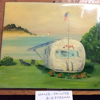 Hand painted tile of an Airstream Trailer.  Well painted, very unusual and strangely attractive. - Mid-Century Modern