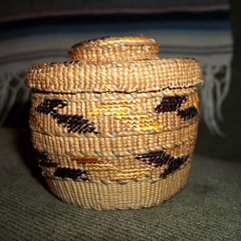 Miniature Tlingit Rattletop Basket with 4 colors used for Imbrication - Native American