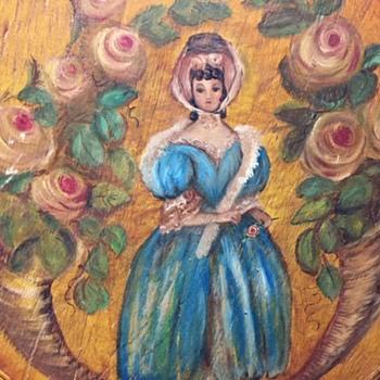 Beautiful Victorian Lady Painted Cheesebox - Folk Art